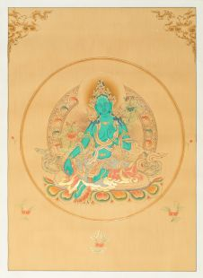 Green Tara Hand Painted Thanka