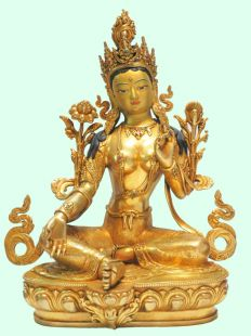 Green Tara Gilt copper statue
