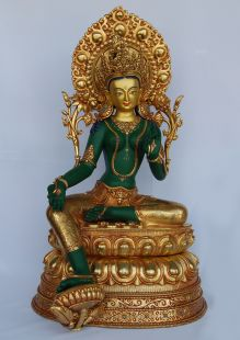 GreenTara Statue, Gilt Copper 24〝H
