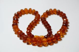 Antique Amber Necklace diamond cut